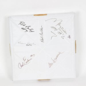 Signed Base - Warren Spahn, Carl Erskine, Maury Wills and Don Newcombe, Bob Bailey and Bob Feller