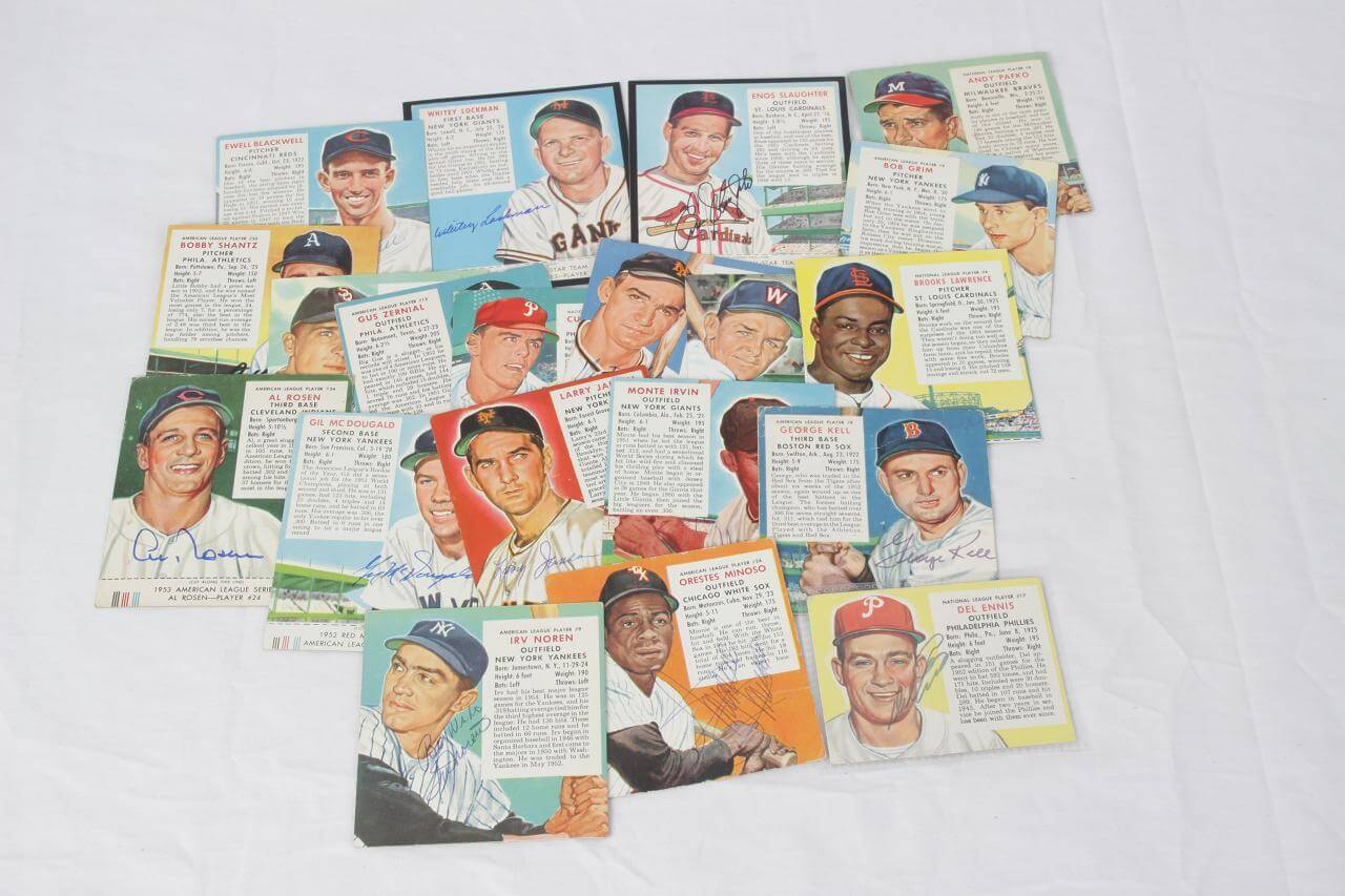Vintage Red Man Tobacco Signed (20) Card Lot Incl. Irvin, Jansen, Kell, etc. - COA