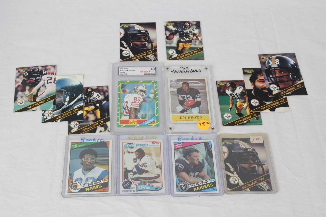 Vintage Football Card Lot - Feat. 1964 Philadelphia Jim Brown, Steeler HOFers, Rookies Howie Long, Eric Dickerson, Lawrence Taylor & Jerry Rice