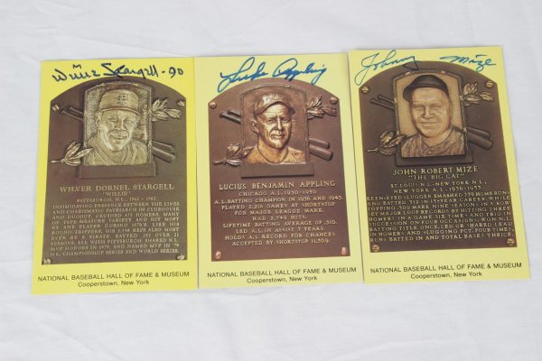 Trio of Yellow Hall of Fame Postcards Signed Lot - Willie Stargell