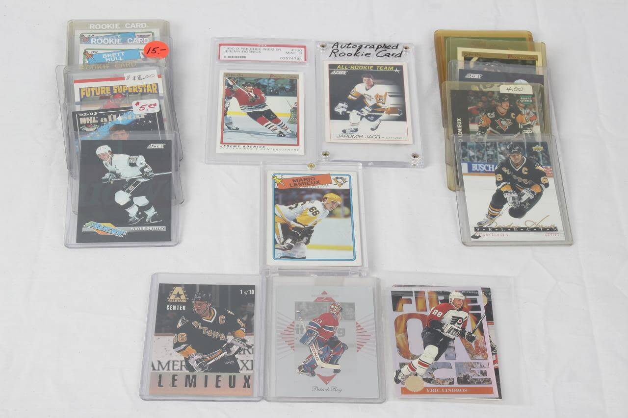 Hockey Sports Card Lot 25+ Incl. Wayne Gretzky, Jeremy Roenick PSA MINT 9, Brian Trottier, Brett Hull, Eric Lindros, Mario Lemieux etc.