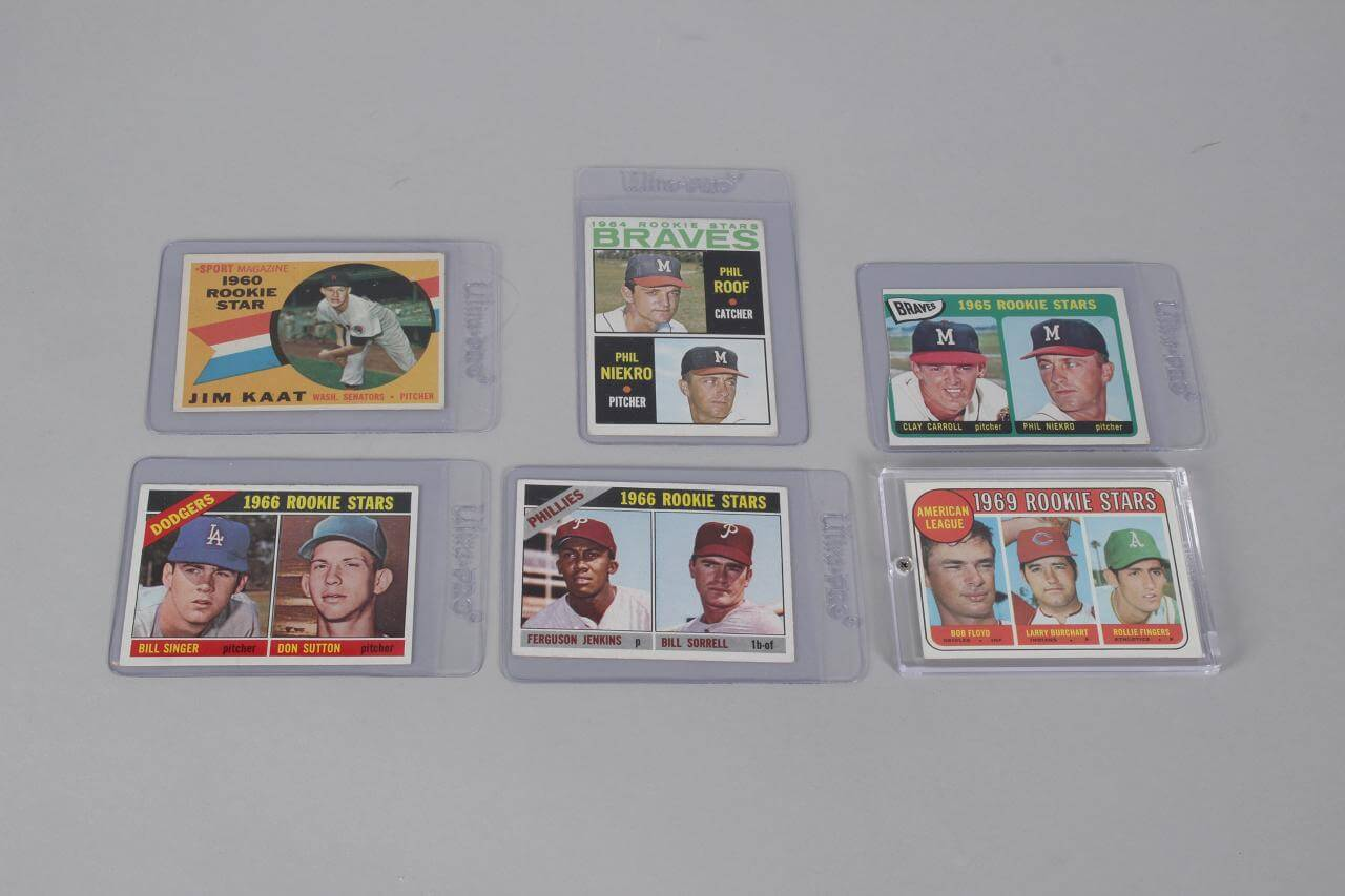 1960s Topps Baseball Rookie HOFer Card Lot of (6) Incl. Rollie Fingers, Ferguson Jenkins, etc