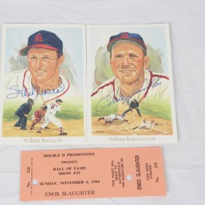 St. Louis Cardinals Signed Celebration Perez-Steele Postcard Lot - Stan Musial & Enos Slaughter