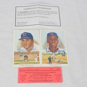 "Chicago Cubs - Hall of Fame Celebration Perez-Steele Postcard Lot - Ernie Banks ""H.O.F. 77"" & Billy Williams"
