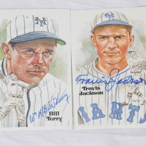 New York Giants Hall of Fame Perez Steele Postcard Signed Lot - Travis Jackson & Bill Terry