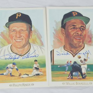 Pittsburgh Pirates Hall of Fame Perez-Steele Celebration Postcards Signed Lot - Willie Stargell & Ralph Kiner