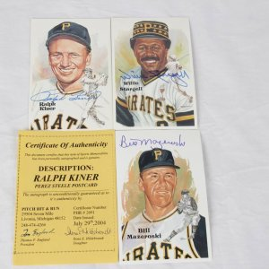 Pittsburgh Pirates Hall of Fame Perez-Steele Postcards Signed Lot - Ralph Kiner