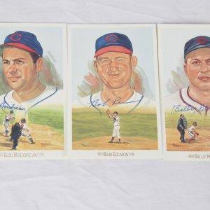 Chicago Cubs Hall of Fame Signed Perez-Steele Celebration Postcard Lot - Lou Boudreau