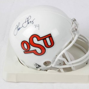 Thurman Thomas Oklahoma State Signed & Inscribed (34) Riddell Mini Helmet-Photo From Signing
