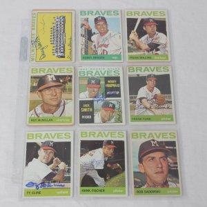 1964 Topps Baseball Milwaukee Braves Signed Card Lot of 15 Incl. Frank Bolling