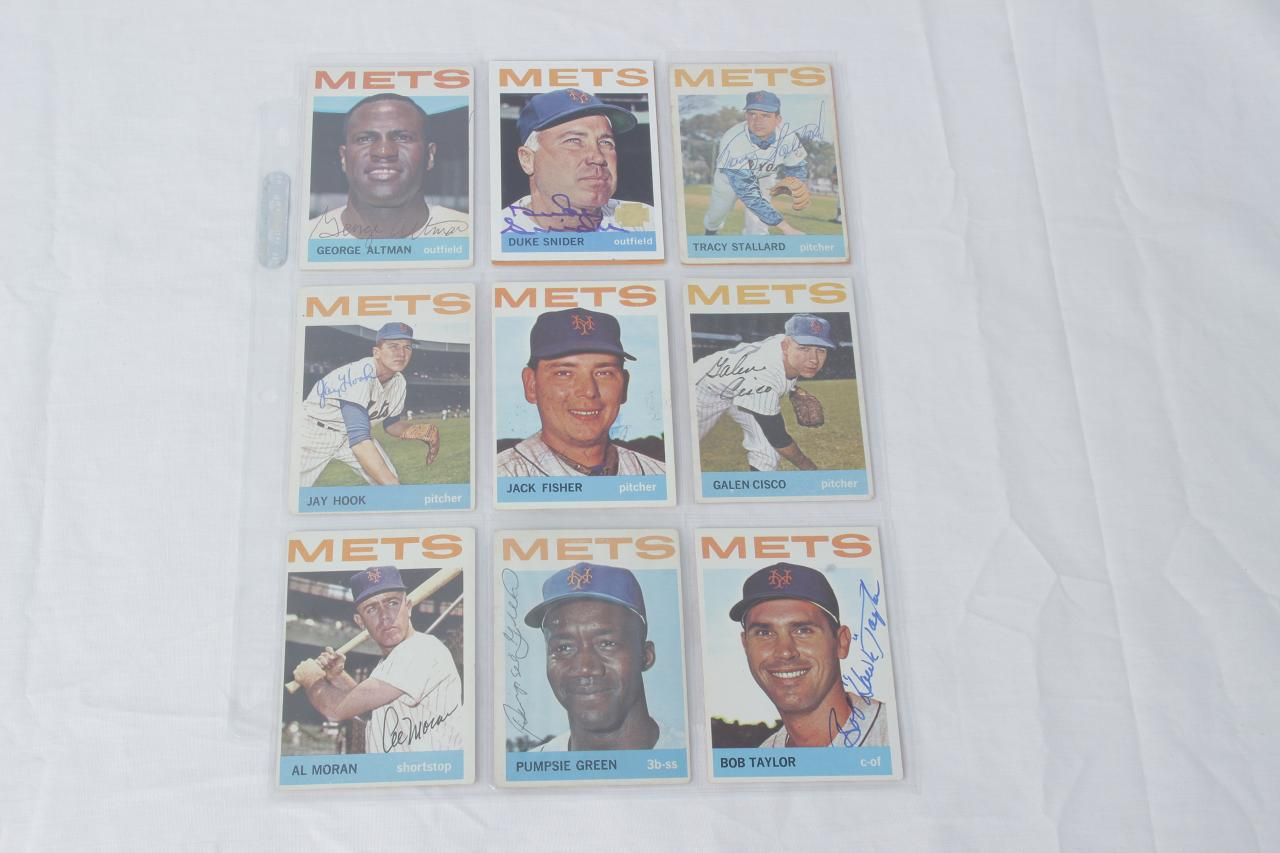 1964 Topps Baseball New York Mets Signed Card Lot of 11 Incl. George Altman, Choo Choo Coleman, Duke Snider (Archives) etc.