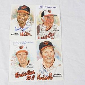 Baltimore Orioles HOFer Signed Lot of 4 Perez-Steele Post Cards - Earl Weaver