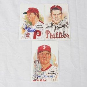 Philadelphia Phillies HOFer Signed Lot of 3 Perez-Steele Post Cards - Steve Carlton, Robin Roberts & Jim Bunning