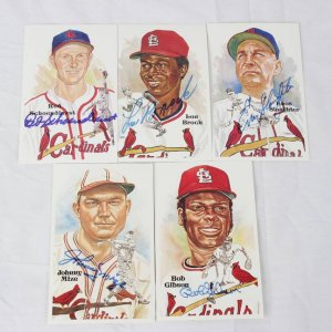 St. Louis Cardinals HOFer Signed Lot of 5 Perez-Steele Post Cards - Red Schoendienst, Lou Brock, Enos Slaughter, Bob Gibson & Johnny Mize-Portion of Proceeds Benefits the Depreciation Lands Museum