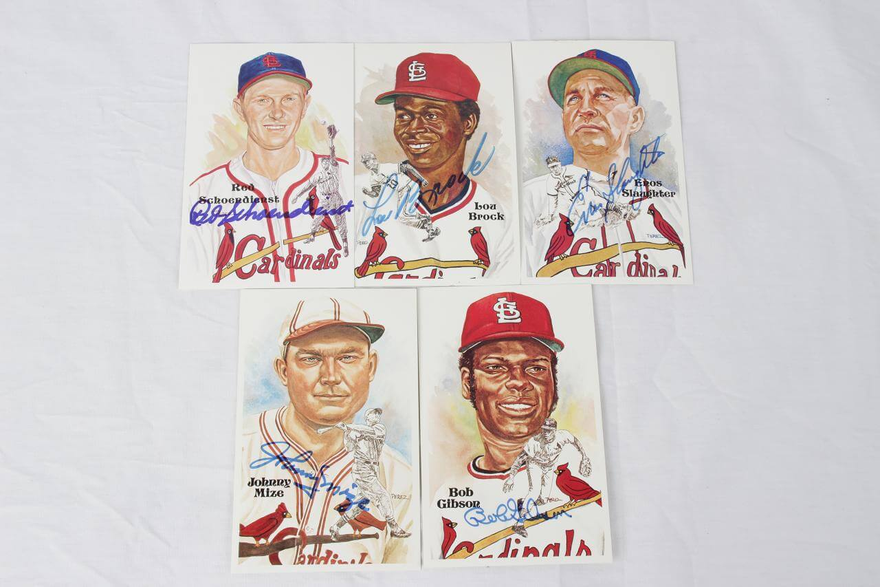 St. Louis Cardinals HOFer Signed Lot of 5 Perez-Steele Post Cards - COA