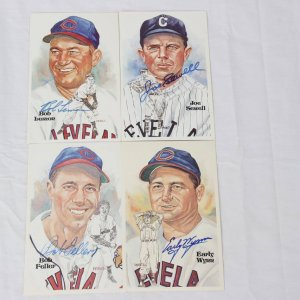 Cleveland Indians HOFer Signed Lot of 4 Perez-Steele Post Cards - Joe Sewell, Bob Feller, Bob Lemon & Early Wynn