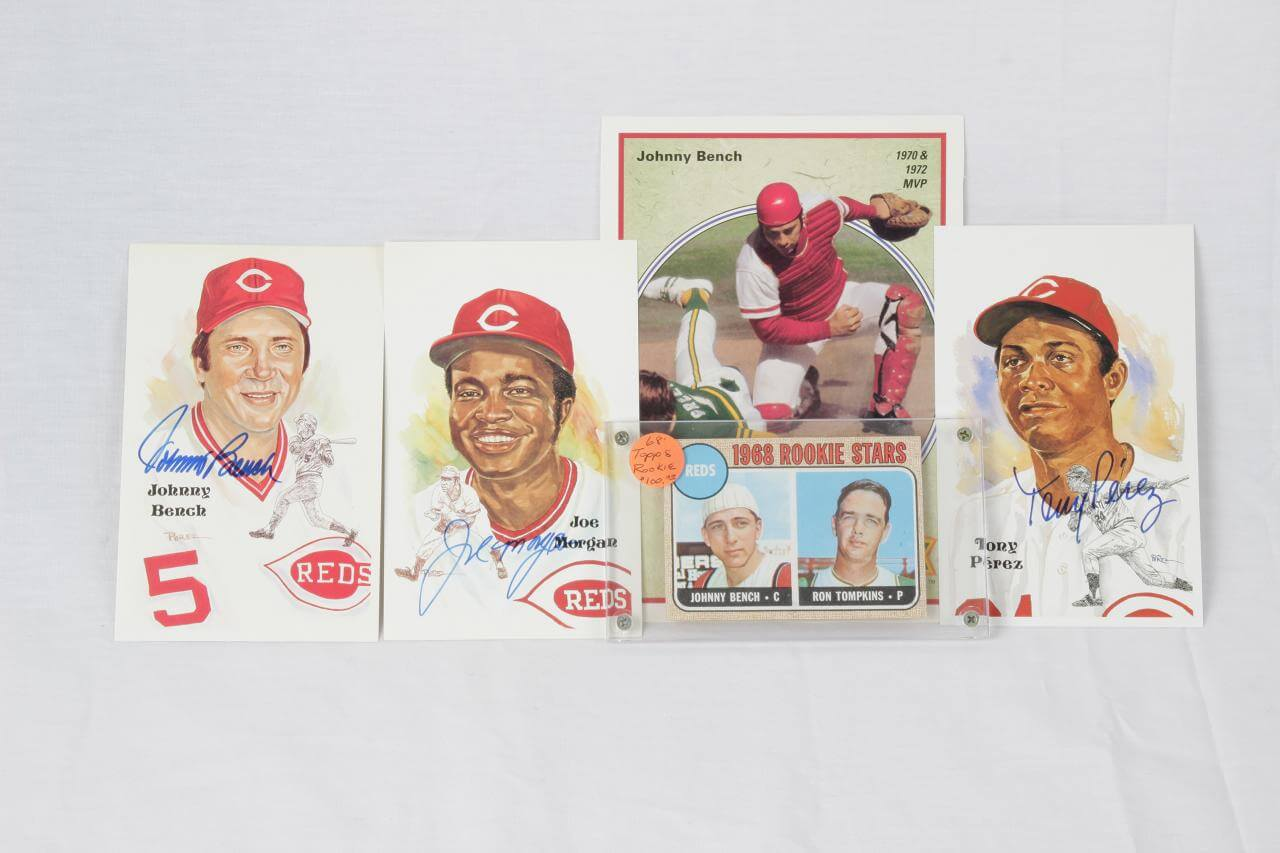 Cincinnati Reds Lot - (3) Signed Perez-Steele Post Cards Incl. Johnny Bench, Tony Perez & Joe Morgan & 1968 Topps Bench Rookie Card