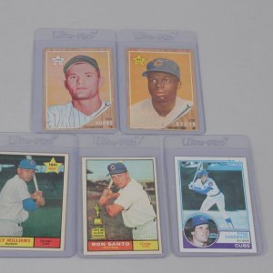 Five Chicago Cubs Vintage Topps Card Rookie Lot - '62 Lou Brock