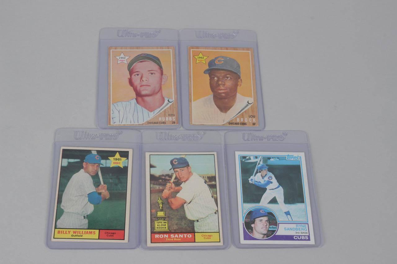 5 Chicago Cubs Vintage Topps Card Rookie Lot 62 Brock 61 Santo Etc