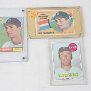 Trio of Vintage Boston Red Sox Topps Cards - Incl. (2) '61 & '62 Carl Yastrzemski incl. Rookie &  '69 Sparky Lyle Rookie