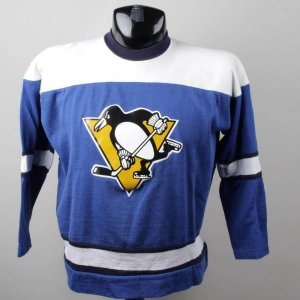 "Pittsburgh Penguins 1970""s  Kids  Blue & White Rawlings Dureen Jersey"