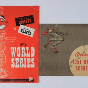 1948 Cleveland Indians World Series vs Boston Braves Program (Last Indians Championship) &1951 Indians Baseball Score Book
