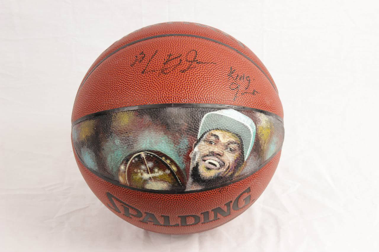 "2002 Pre-Rookie High School LeBron James Signed Basketball w/ Extremely Rare-Impossible ""King James"" Inscription (w/ Original Hand Painted Portrait of Miami Heat Champion Art Work)"
