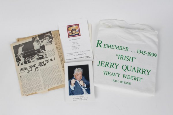 "Boxing Legend Jerry Quarry (2) Signed & Inscribed ""Irish"" Magazine Pages & Memorial Tee Shirt"