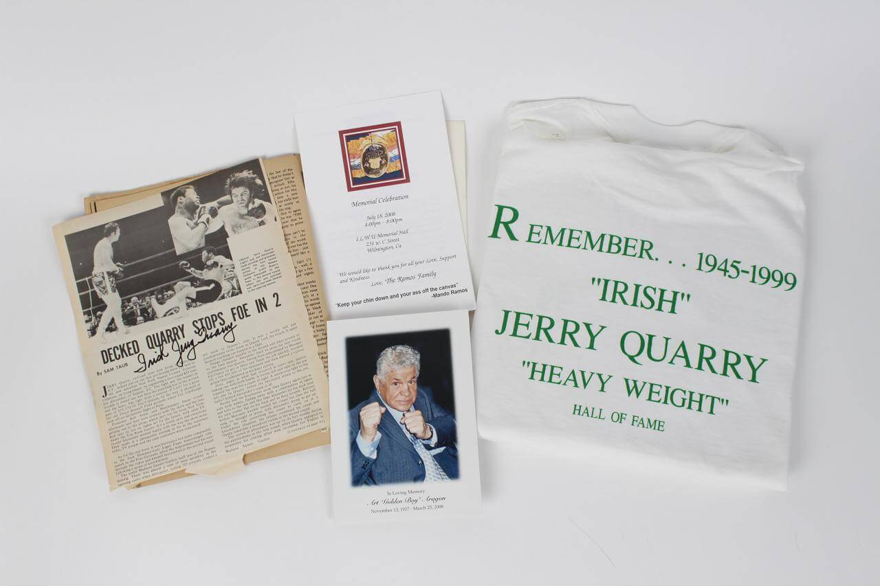 """Boxing Legend Jerry Quarry (2) Signed & Inscribed """"Irish"""" Magazine Pages & Memorial Tee Shirt"""