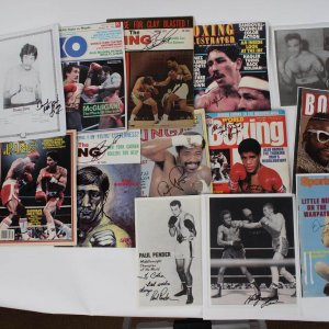 (13) Boxing Signed Magazines & Photos Incl. Mr. T, Conrad, Ramos, Pryor, etc.- JSA