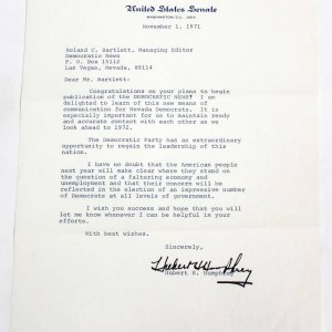 1971 VP Hubert Humphrey Typed, Signed Letter as Senator (TLS) - COA