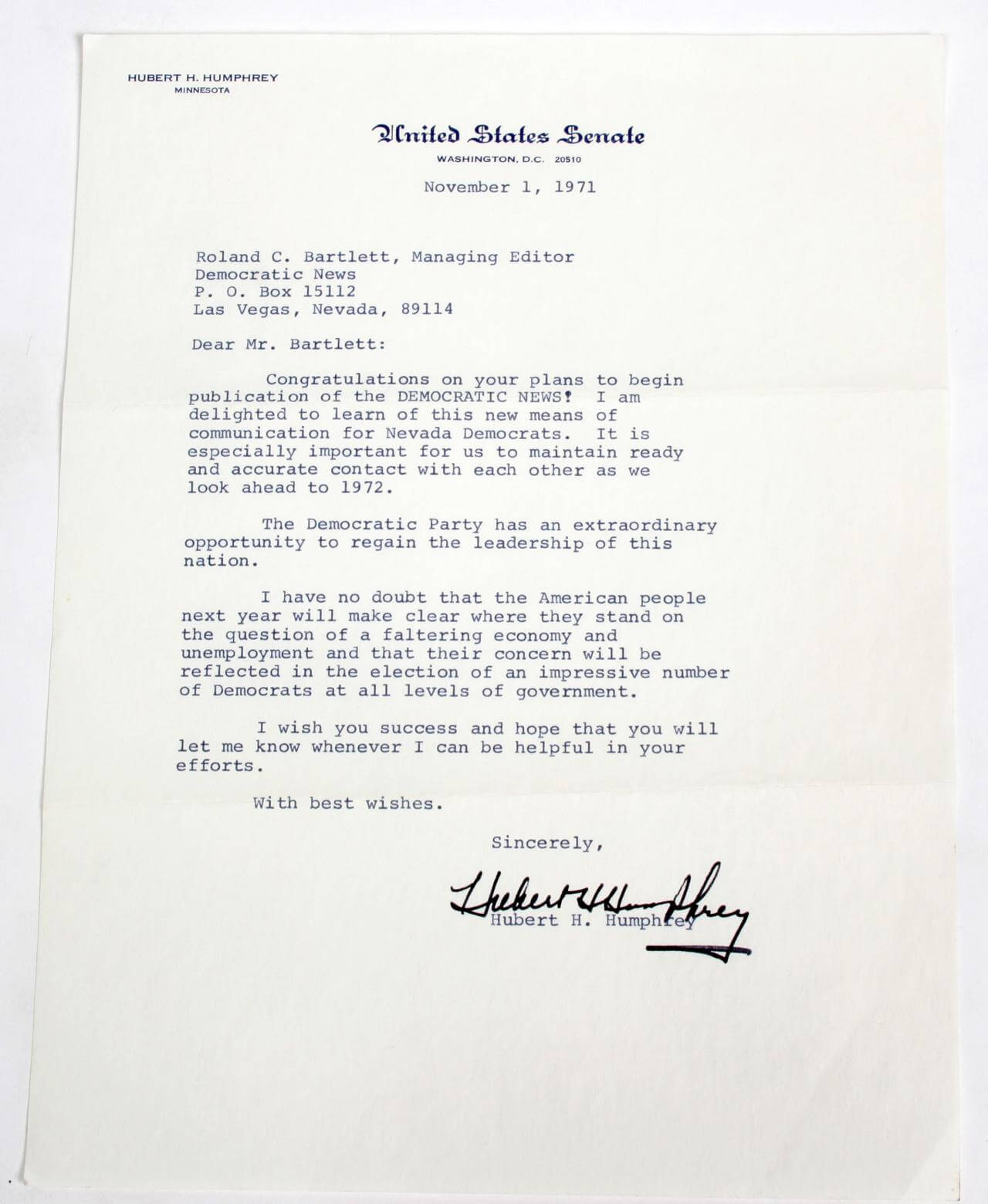 1971 VP Hubert Humphrey Typed, Signed Letter as Senator (TLS) - COA