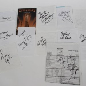 Celebrity Lot of 12 Signed Call / Script Sheets feat. Autographs of Kathy Najimy