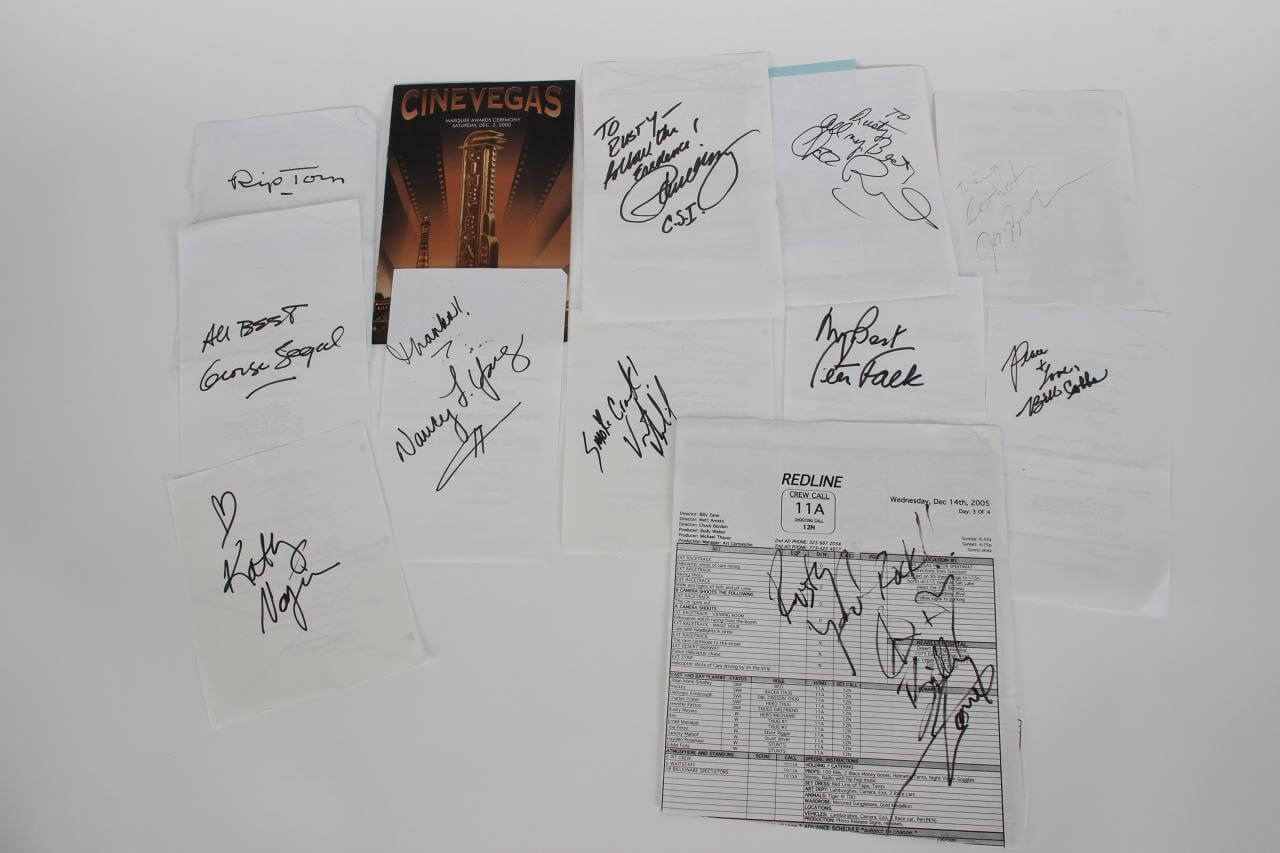 Celebrity Lot of 12 Signed Call/Script Sheets - JSA