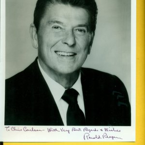 President Ronald Reagan Signed  & Inscribed ( With Very Best Regards & Wishes) 8x10 Photograph (Pers.) by Photographer Harry Langdon (Langdon Studio Stamped)