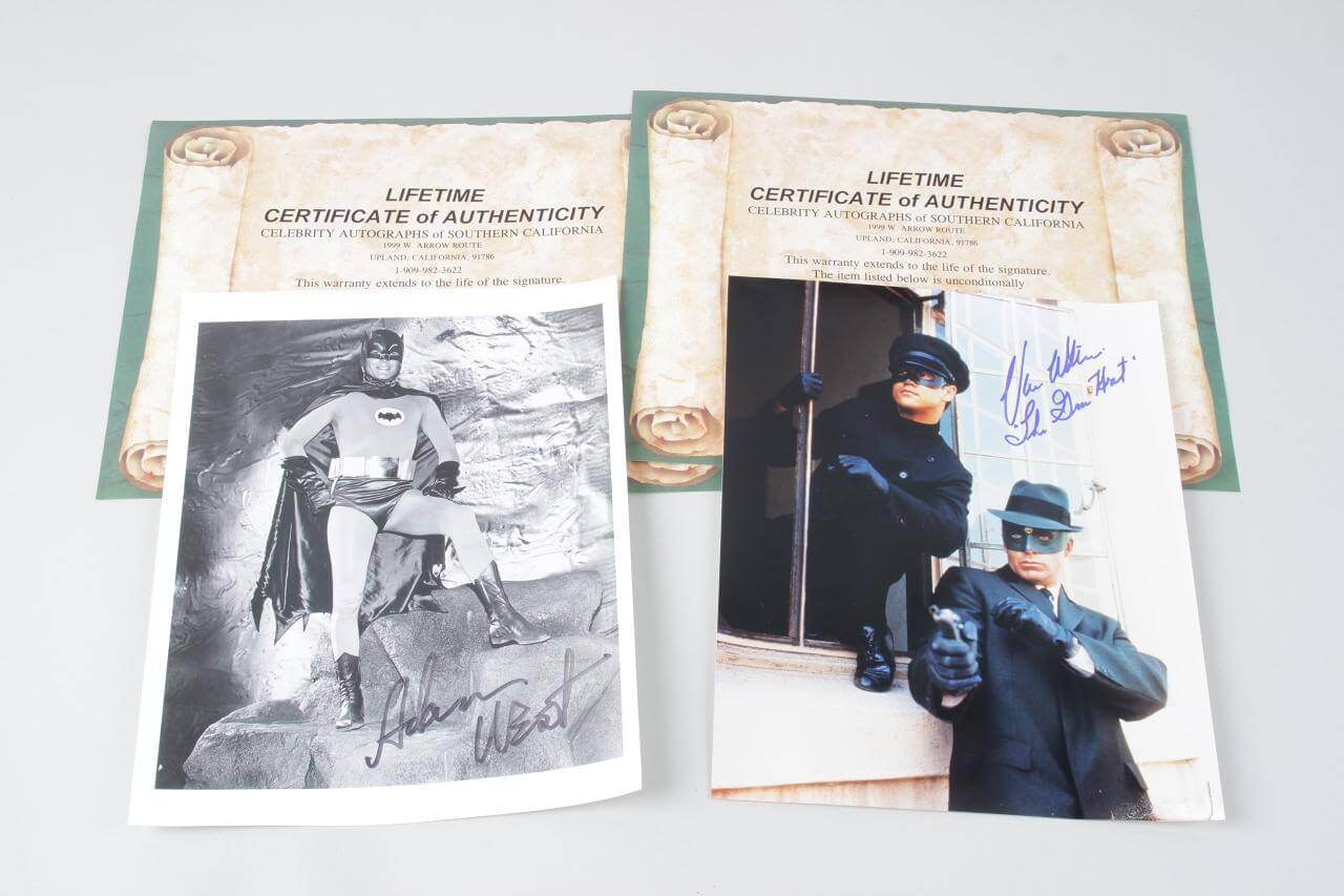 Batman- Adam West & Green Hornet- Van Williams Signed 8x10 Photos - JSA