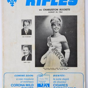 1964 United Football League - Quebec Rifles vs. Charleston Rockets Program