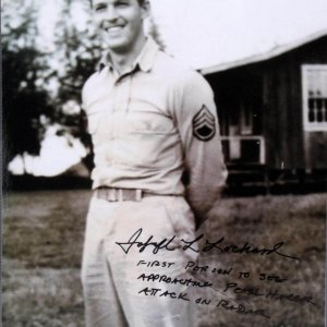 "WWII ""Pearl Harbor"" - Joseph Lochard Signed, Inscribed 8x10 Photo - (First Person to See Approaching Pearl Harbor Attack on Radar - Very Rare) (PSA/DNA COA)"