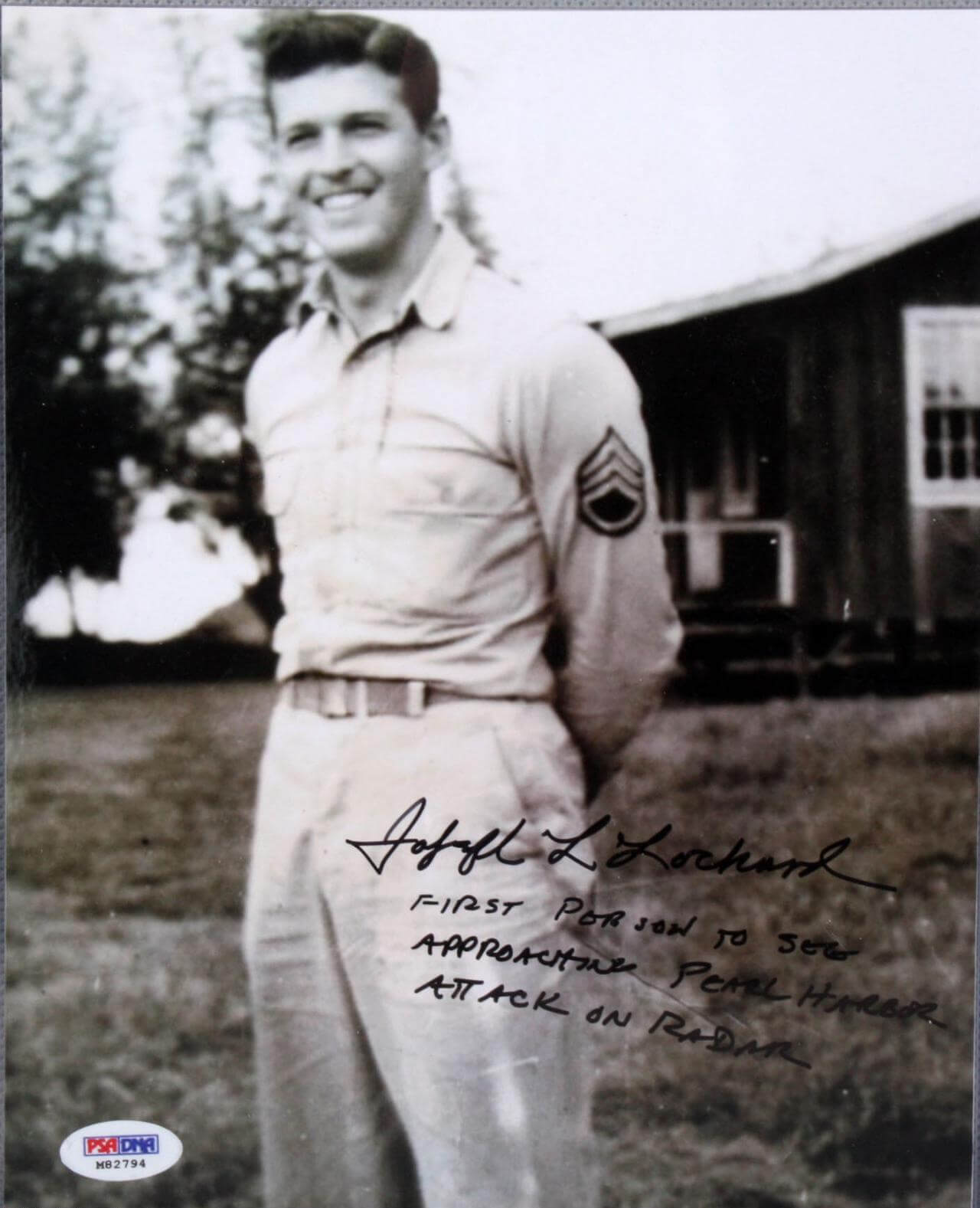 """WWII """"Pearl Harbor"""" - Joseph Lochard Signed, Inscribed 8x10 Photo - (First Person to See Approaching Pearl Harbor Attack on Radar - Very Rare) (PSA/DNA COA)"""