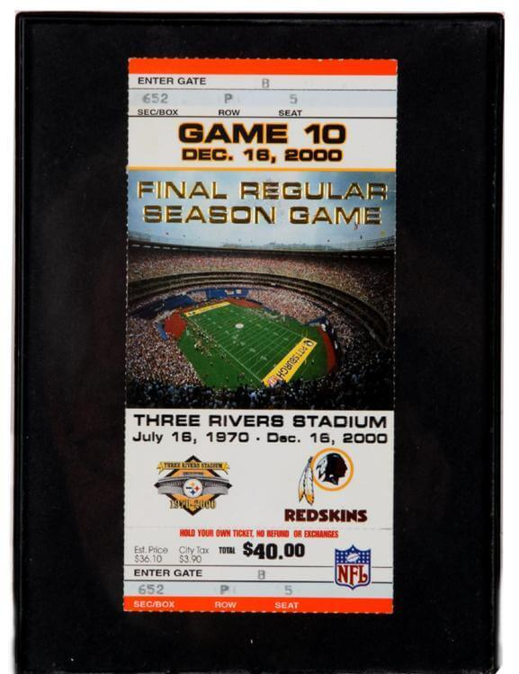 Steelers Vs. Redskins Final Regular Season Game Ticket Three Rivers Stadium Dec., 16, 2000