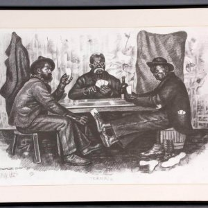 "Three Guys Playing Cards Artwork Charcoal Drawing - Titled ""Trimmin"" by Pittsburgh Artist George Gist"
