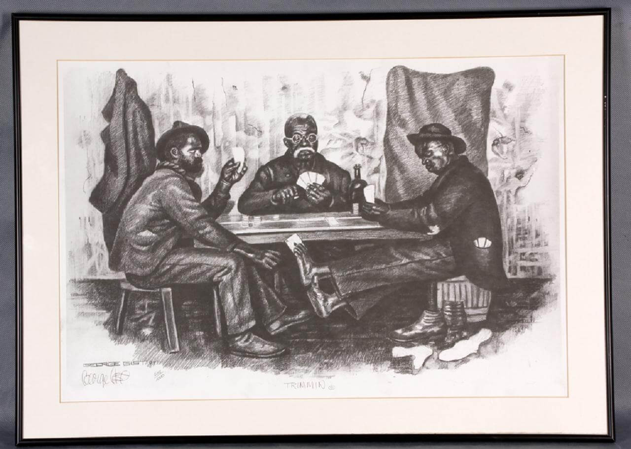 """Three Guys Playing Cards Artwork Charcoal Drawing - Titled """"Trimmin"""" by Pittsburgh Artist George Gist"""