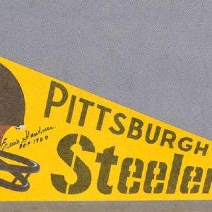 """Vintage Pittsburgh Steelers Pennant Signed by Ernie Stautner, """"HOF 1969"""" - JSA"""