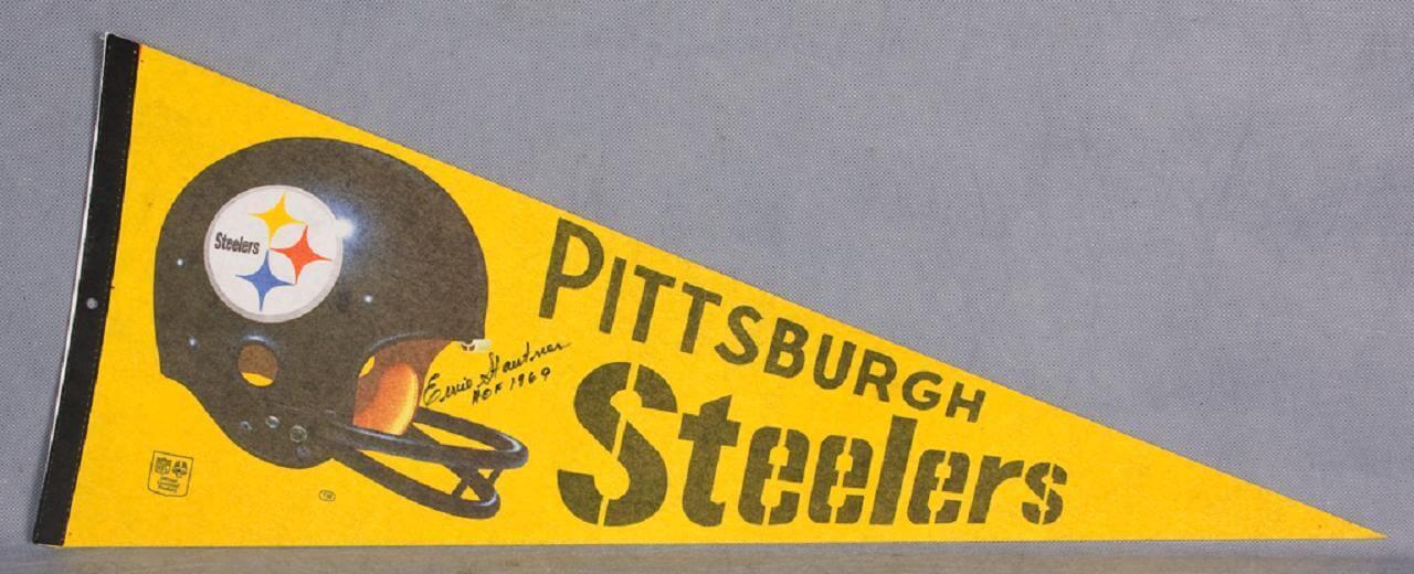 Ernie Stautner Signed Pennant Steelers - COA JSA