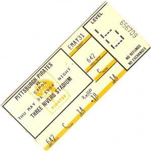 1984 Pittsburgh vs. Expos at Three Rivers Stadium Ticket Stub