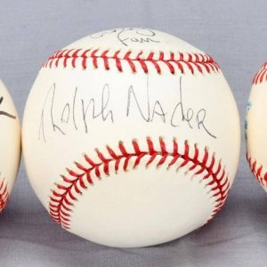 Ross Perot, Joe Lieberman & Ralph Nader Autographed Baseballs - Third Party Presidential Candidates Independent and Socialist