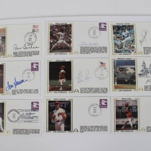 Lot Of (9) 3000 Strikeouts Signed First Day Covers (FDC) Cachets Featuring Nolan Ryan, & Don Sutton