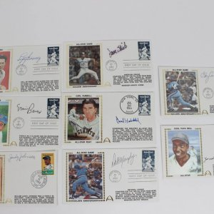 Lot of 8 Cooperstown Signed First Day Covers (FDC) Cachets Feat. Lefty Gomez, Ernie Banks, Gary Carter, Dale Murphy etc.