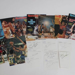 "17 Basketball Stars Signed Cuts Includes Julius Erving ""Dr. J"", Kareem Abdul-Jabbar, John Havlicek and others."