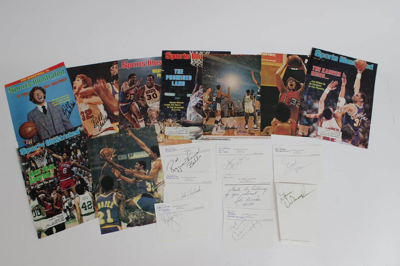 "17 Basketball Stars Signed Cuts Includes Julius Erving ""Dr. J"",  Kareem Abdul-Jabbar, John Havlicek and others.86457_01_lg"